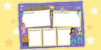 Aladdin Book Review Writing Frame - aladdin, book review, write
