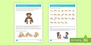 Deaf Awareness   FIngerspelling Fun (Left Handed) Activity - Deaf Awareness Week  UK (2.5.17)