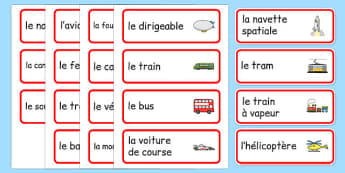 Transport Topic Word Cards French - vehicles, cars, lorries, helicopter, vocabulary, van, lorry, France, French, MFL, Francais