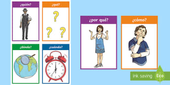 Who What Where When Why Word Cards Spanish - Spanish, KS2, vocabulary, question, words, word, cards, classroom, decoration, grammar