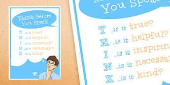 Anti-Bullying Week: Think Before You Speak Poster - anti-bullying week, think, speak, poster, display