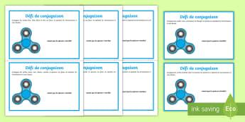 Cartes de défis de conjugaison du hand spinner - KS2, cycle 3, cycle 2, conjugaison, cartes, français, verbes, temps, présent, futur, passé compos