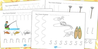 Spring Pencil Control Worksheets - fine motor skills, seasons