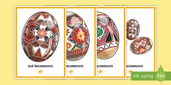 Ouă încondeiate Planșă - Romania Easter KS2, Paști, Paste, sărbători pascale, oua, ou, incondeiere, incondeiate, oua incon