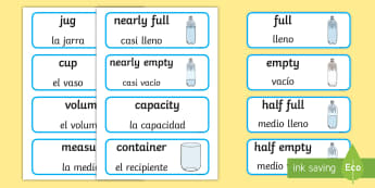Capacity Word Cards English/Spanish - Capacity word cards, word card, cards, capacity, volume, litre, full, empy, half full, measure, jug,