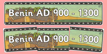 Benin AD 900 1300 Display Banner - header, history, KS2, display