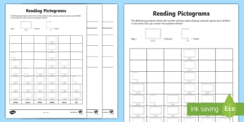 Reading Pictograms Activity Sheet - worksheet, data, statistics, reading scales, interpreting data, Interpret and present data using bar