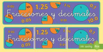 Fracciones y decimales pancarta - matemáticas, mates, fracciones, decimales, pancarta, cartel, números, mural,