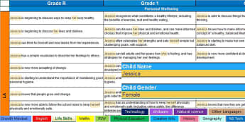 South African CAPS Report Writing Bank of Statements Grade 1-7  Spreadsheet - report comments, aid, grades 1-7, reports, comments, south africa