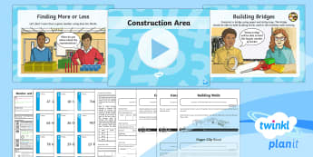 PlanIt Y4 Number and Place Value Lesson Pack Finding More or Less (3)  - 10, 100, 1000, construction, themed maths, dienes, number line, greater than 1000, beyond 1000