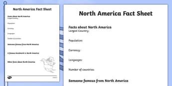 North America Factsheet Writing Template - north america, north america fact sheet, north america fact file, north america worksheet, ks2 geography