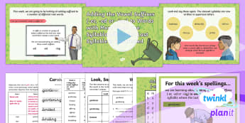 PlanIt Y3 Term 2A W2: Adding Suffixes Beginning with a Vowel (er/ed/ing) to Words with More Than One Syllable (unstressed last syllable) Spelling Pack - Spellings Year 3, Y3, Year 3, spelling, weekly, weeks, list, test, SPaG, GPS, unstressed syllable