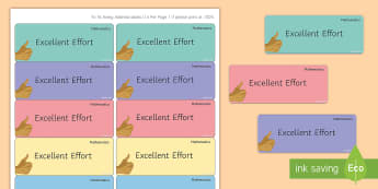 Maths 'Excellent Effort' Stickers - Marking, Feedback, Stickers, Rewards, Learning, Attitude, Time-Saving, Positive, Praise