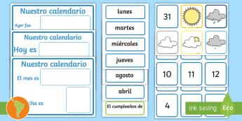 Postérs: El calendario diario y el tiempo - tiempo, clima, hace sol, hace calor, esta nublado, esta nevando, está nevando, español, spanish, c
