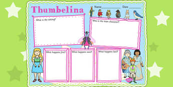 Thumbelina Story Review Writing Frame - stories, story books