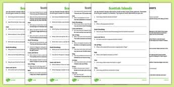 Scottish Islands Information Cards Comprehension Activity
