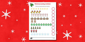 Counting at Christmas Activity Sheet - Christmas, xmas, counting, activity, advent, nativity, santa, father christmas, Jesus, tree, stocking, present, activity, cracker, angel, snowman, advent , bauble. Counting, how many, numeracy, numbers, counting