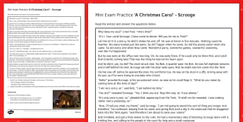 Mini Exam Practice A Christmas Carol: Scrooge - mini, exam, practice, a christmas carol