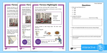 KS1 Florence Nightingale Differentiated Go Respond Activity Sheets - EYFS/KS1 Florence Nightingale's Birthday (12.5.17), computer, tablet, interactive, ICT, computing,