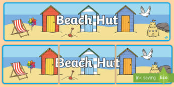 Beach Hut Banner - Seaside, Holiday, Display, Role Play, Seashore