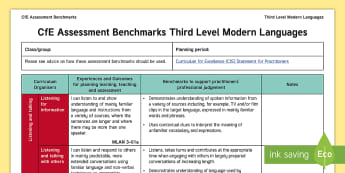 CfE Third Level Modern Languages Assessment Benchmarks Assessment Tracker-Scottish - CfE Benchmarks, tracking, assessing, progression, literacy, modern languages,Scottish