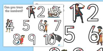 Pirate Themed Number Formation 1-10 Activity Sheet - pirate, number formation, 1-10, activity, worksheet, overwriting