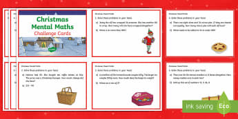 Year 3 Christmas Mental Maths Challenge Cards - Christmas, mental maths, Christmas mental maths, Year 3 mental maths skills, Y3 maths, year 3 challe