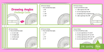 Drawing Angles Challenge Cards - Acute, Obtuse, Right Angle, Reflex, Protractor, degrees, turn