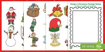 Design a Christmas Postage Stamp Activity English/Romanian - EAȘ, EAL, creative, present, letter, design, christmas, postage stamp, activity, christmass