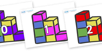Numbers 0-31 on Building Blocks - 0-31, foundation stage numeracy, Number recognition, Number flashcards, counting, number frieze, Display numbers, number posters