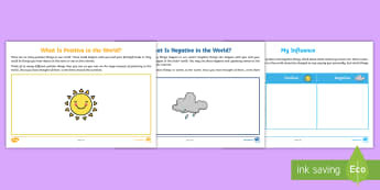 What Is Positive and Negative in the World? Activity Sheet - young people, PSHCE, traumatic events, change, transition, families