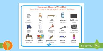 Classroom Objects Word Mat US English/Spanish (Latin) - Classroom Objects Word Mat - classroom objects, classroom, objects, word mat, word, mat, wordmat, oj