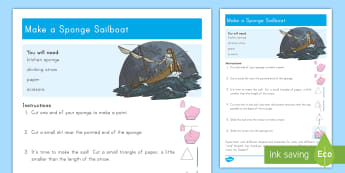 Make A Sponge Sailboat Craft Instructions - Jesus, Miracles, Boat, Sailboat, Sponge, Craft, Storm