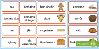 Bakery Word Cards - cfe, curriculum for excellence, gaelic, scottish, bakery, word cards, word, cards