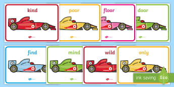 Year 2 Common Exception Words on Racing Cards Display Posters - Year 2 Common Exception Words on Racing Cars Display Posters - common, DfES Letters and Sounds, Lett