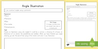 Angle Illustration Activity Sheet - angles, math, geometry, drawing, activity sheet, worksheet