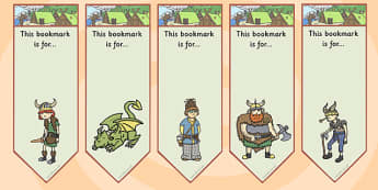 How to Train Your Dragon Editable Bookmarks - books, dragons