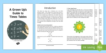 A Grown Up's Guide to Times Tables: How to Help Your Child Become a Times Tables Master Booklet - homework, support, multiplication, inverse facts, games