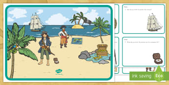 Pirates Scene and Question Cards - pirate, pirates, scene and question cards, pirate scene, pirate question cards, pirate scene and que