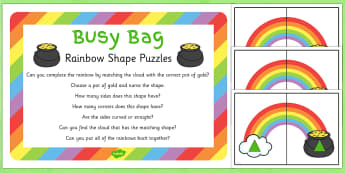 Rainbow Shape Puzzle Busy Bag Prompt Card and Resource Pack - St Patricks Day, rainbow