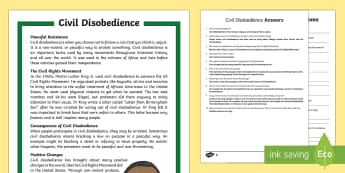 Civil Disobedience Differentiated Reading Comprehension Activity - Civil Rights, Civil disobedience, Martin Luther King