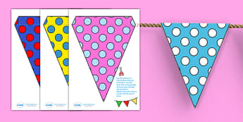 Display Bunting (Spots) - Bunting, display bunting, classroom bunting, decorative bunting, royal wedding, classroom display