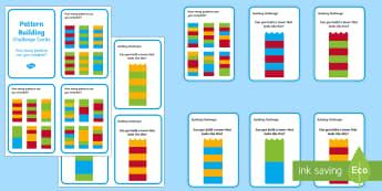 Building Brick Pattern Challenge Cards - bricks, toy, patterns, game, cards