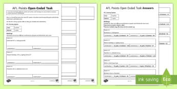 AFL Points Open-Ended Task Activity Sheet - ACMNA123, calculate, problem solve, multiplication, division, mental math, multiplication problem, d