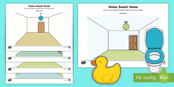 Home Sweet Home Cut and Paste Activity Sheet - Home, Sweet, Home, Aistear, Story, Houses, Homes, Literacy, worksheet