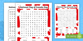 National Flag of Canada Day Word Search - National Flag of Canada Day, social studies, february 15th.