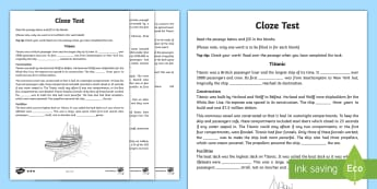 Titanic Themed Differentiated Cloze Activity Sheets - Titanic, fill the blanks, reading, comprehension, tests, testing, worksheets