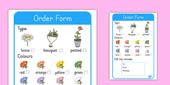 Florist Role Play Order Forms - Florist Role Play, florist, flower shop, flowers, bouquet, flower decorations, till, money, gifts, role play, display, poster