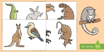 Australian Animal Threading Cut-Outs - EYLF, Australian, animals, koala, kangaroo, dingo, emu, lizard, crocodile, echidna, wallaby, wombat,