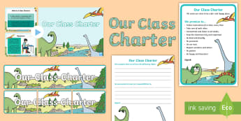Our Class Charter Dinosaur-Themed Resource Pack - Our, Class, Charter, Dinosaur, Themed, Resource, Pack,